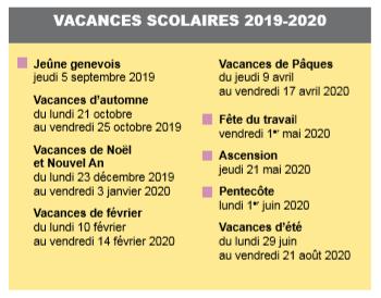 Vacances scolaires 2019 et 2020 genève